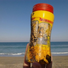 Plastic Bottle from South America Trash on Florida Beach