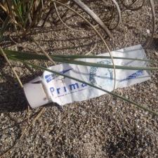 Plastic Tube from Haiti on Florida Beach