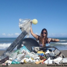 Plastic pollution, styrofoam and balloons washed ashore