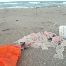 Radiosonde weather balloon littering beach