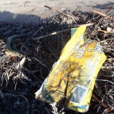Wrapper from Honduras debris on Florida beach