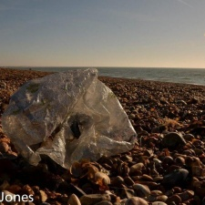 dirty mylar balloon on beach