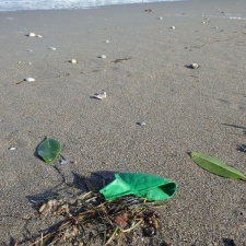 latex balloon pollution on beach