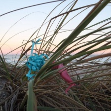 latex balloon and ribbon entwined on seagrass