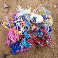 latex balloons and ribbons polluting Ella Bay, North Queensland