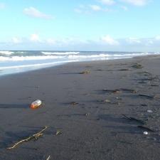 Gatorade plastic bottle on beach