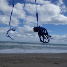 latex balloons and ribbon litter on beach