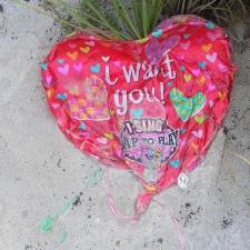 singing mylar balloon polluting beach